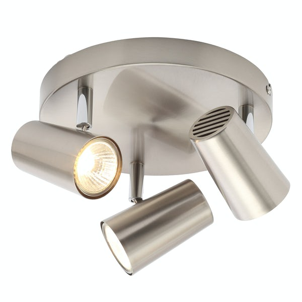 Forum Chara satin nickel 3 light kitchen ceiling light