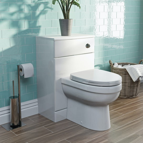 Eden white slimline back to wall unit and toilet with seat