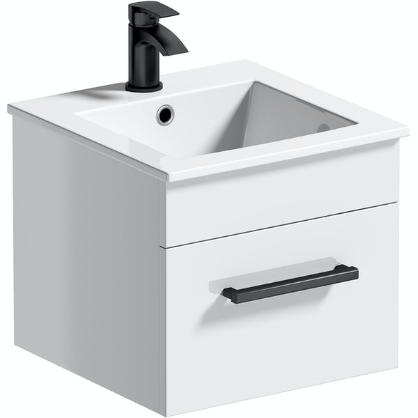 Orchard Derwent white wall hung vanity unit with black handle and ceramic basin 420mm