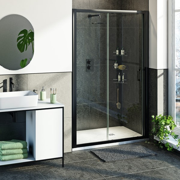 Mode 6mm black framed shower door bundle with white slate effect shower tray 1200 x 800