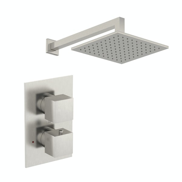 Mode Spencer thermostatic twin valve brushed nickel shower set