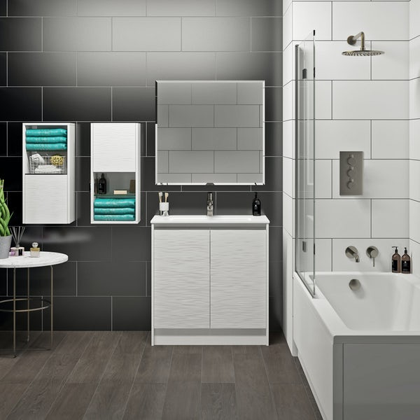 Mode Banks textured matt white vanity unit 800mm