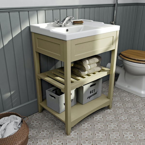 The Bath Co. Camberley satin ivory washstand with traditional basin 600mm