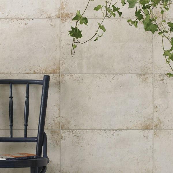 British Ceramic Tile Industrial galvanised platinum white matt wall and floor tile 298mm x 498mm