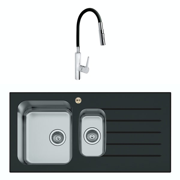 Bristan Gallery glacier right handed black glass easyfit 1.5 bowl kitchen sink with Flex tap