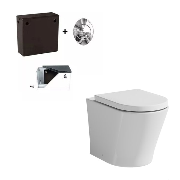 Mode Tate rimless back to wall toilet with soft close seat and concealed cistern