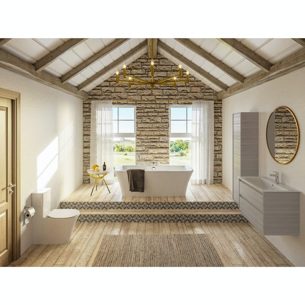 Ideal Standard Concept Air wood light brown furniture and freestanding bath suite 1700 x 790