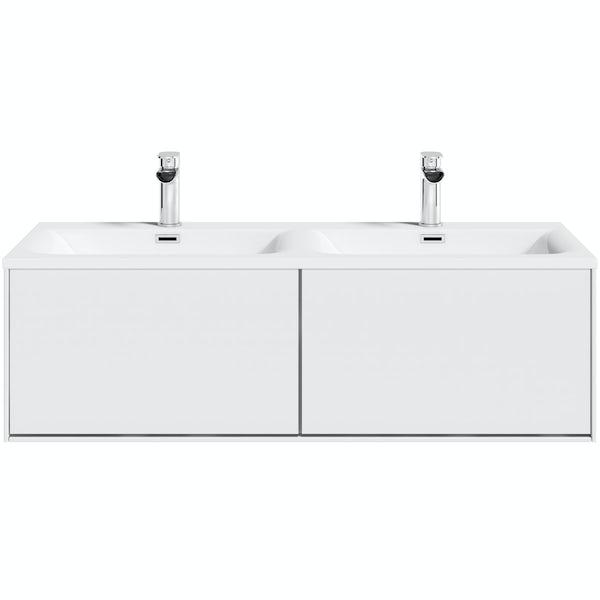 Mode Burton White Wall Hung Double, Mode Burton White Wall Hung Vanity Unit And Basin 600mm