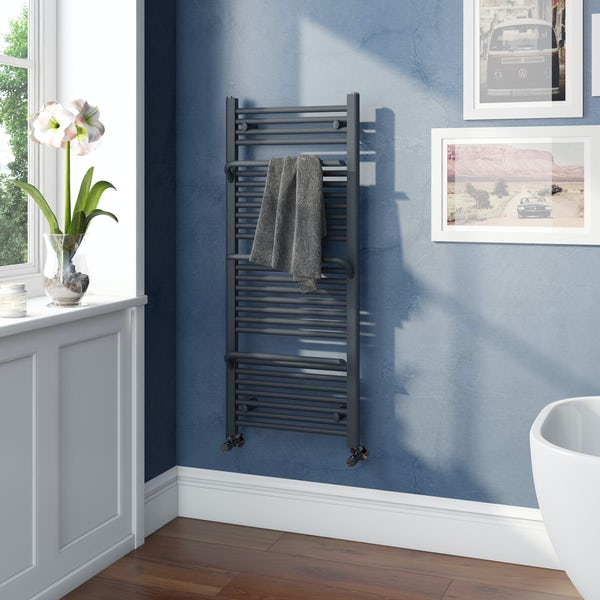 Mode Rohe anthracite grey heated towel rail with hangers 1200 x 500
