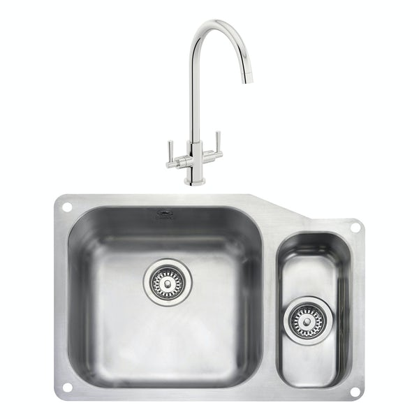 Rangemaster Atlantic Classic 1.5 bowl undermount right handed kitchen sink with waste and Schon C spout WRAS kitchen tap