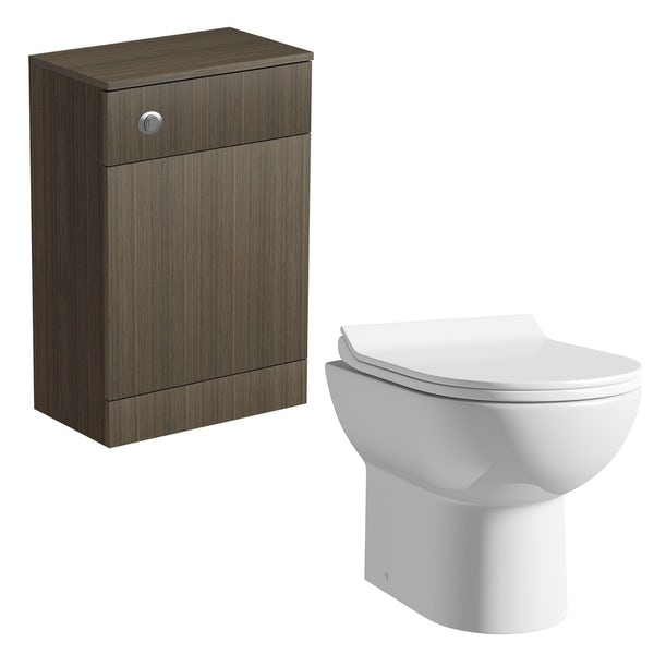 Orchard Wye walnut back to wall toilet unit with Eden contemporary back to wall toilet