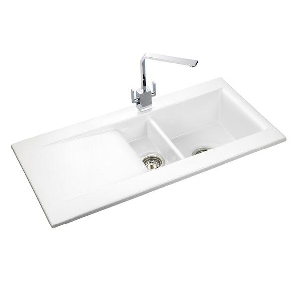 Rangemaster Nevada 1.5 bowl ceramic white reversible kitchen sink