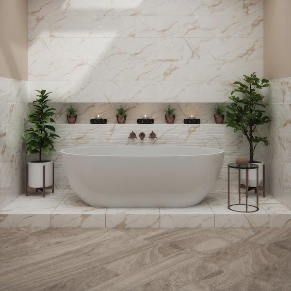 British Ceramic Tile Polar natural honey gloss wall tile 248mm x 498mm
