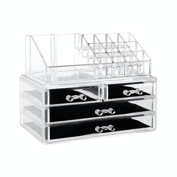 Accents Clear cosmetic organiser with 16 compartments and 4 drawers