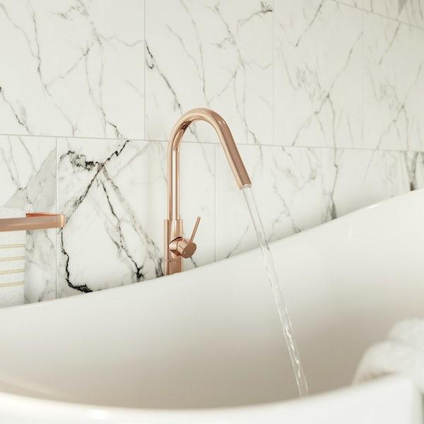 Mode Spencer rose gold freestanding side lever bath filler tap