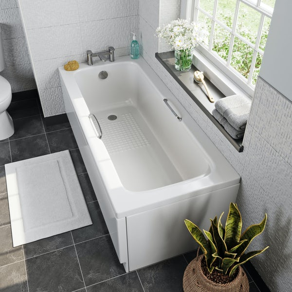 Kirke tread pattern acrylic bath with grips