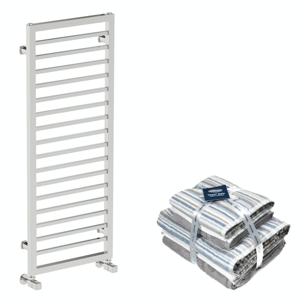 Mode Burton chrome heated towel rail 1150x450 with Silentnight Zero twist grey 4 piece towel bale