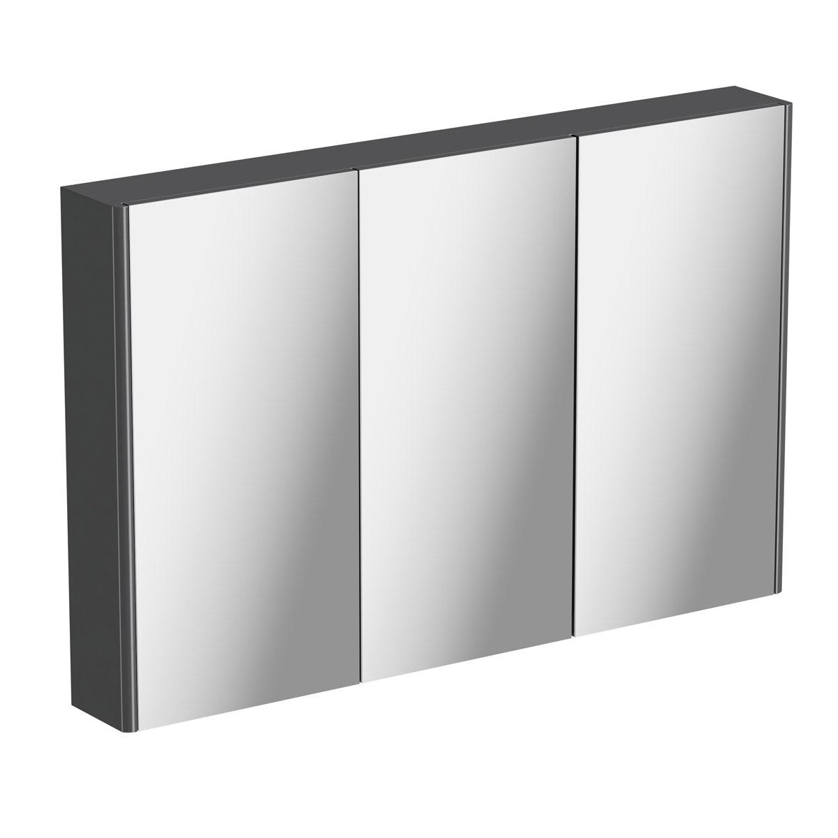 Mode slate gloss grey mirror cabinet 650 x 1000mm