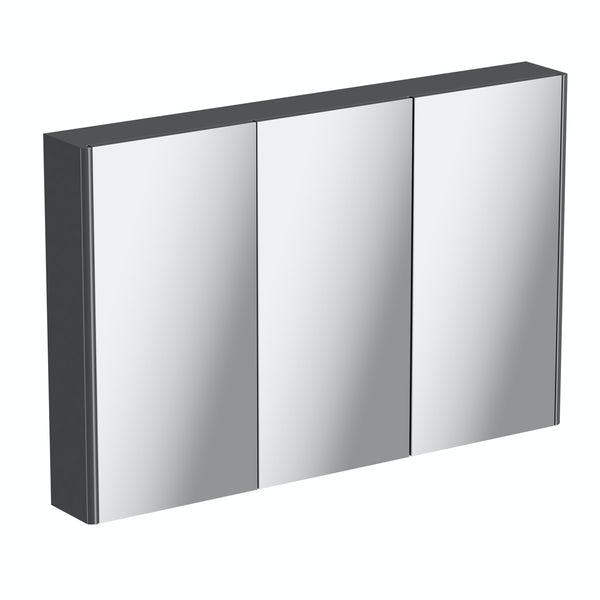 Mode slate grey curved mirror cabinet 650 x 1000mm