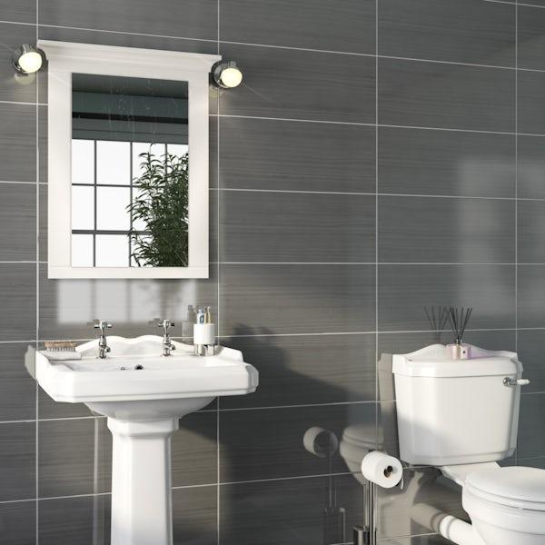 Birch dark grey linear wood effect flat gloss wall tile 250mm x 600mm