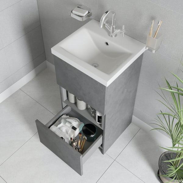 Mode Tate II riven grey cloakroom floorstanding vanity unit and ceramic basin 420mm