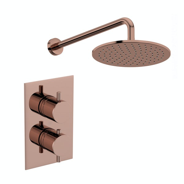 Mode Spencer round rose gold twin valve shower set