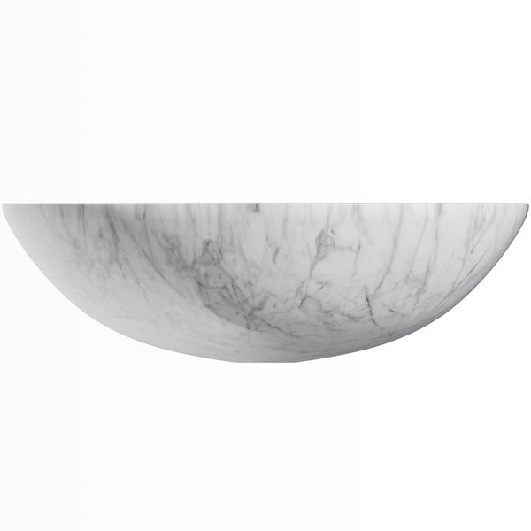 Mode Hale white and grey marble countertop basin 430mm