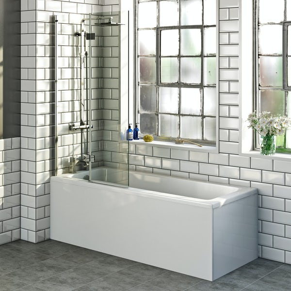 Mode straight shower bath with 8mm hinged panel shower screen