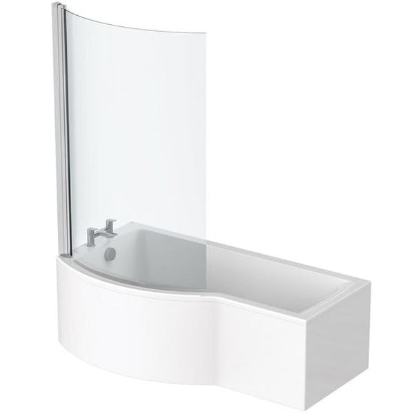 Ideal Standard Concept Air left hand shower bath with bath screen and front panel 1700 x 900 with free bath waste