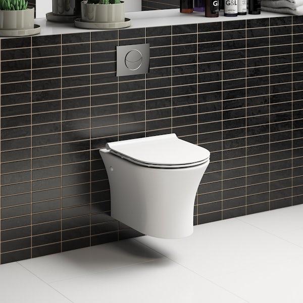 Mode Hardy rimless wall hung toilet inc slimline soft close seat
