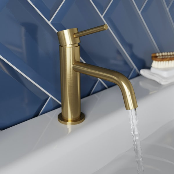 Mode Spencer round brushed brass basin mixer tap