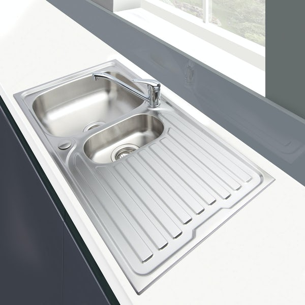 Schon Celyn universal 1.5 bowl stainless steel kitchen sink with waste 965 x 500