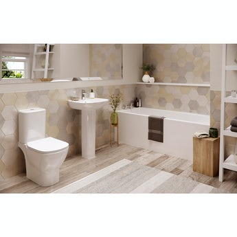Ideal Standard Tesi complete bathroom suite with straight bath Idealform Plus +, taps, panel and wastes 1700 x 700
