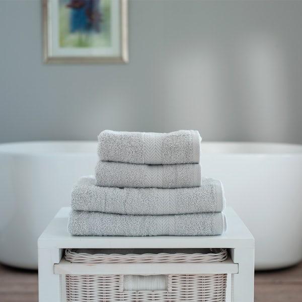Deyongs Kingston 450gsm 4 piece towel bale light grey