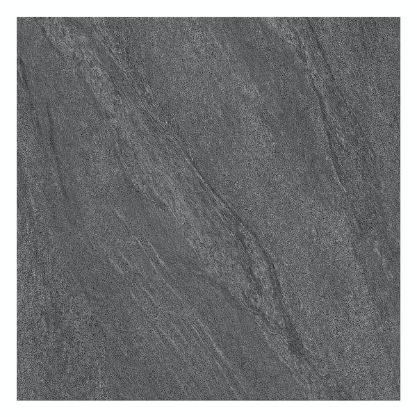 Alicura grey stone effect anti-slip matt wall and floor tile 600mm x 600mm