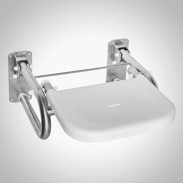 Dolphin commercial Doc M compliant stainless steel shower seat with white seat with satin finish
