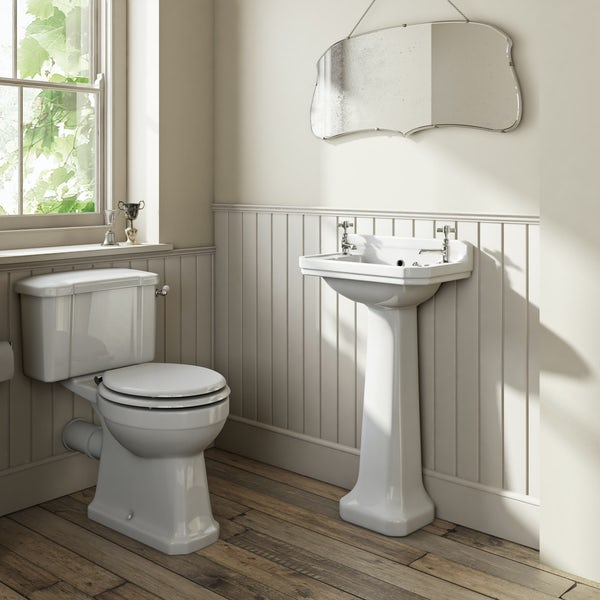 The Bath Co. Camberley complete close coupled toilet and cloakroom basin suite with tap and waste
