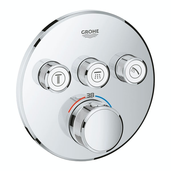 Grohe Grohtherm SmartControl round thermostatic concealed 3 way shower valve trimset