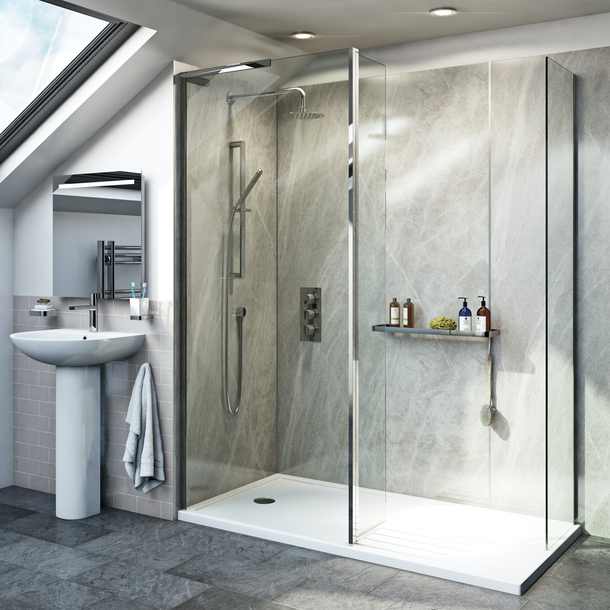 Mode 8mm Spacious Walk In Left Handed Shower Enclosure Pack With Return Panel And Walk In Tray