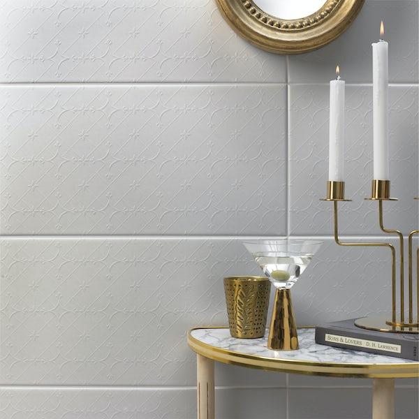 V&A Serenity trellis white matt wall tile 248mm x 498mm