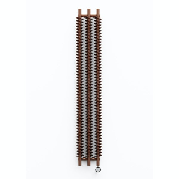 Terma Ribbon VE bright copper electric radiator 1800 x 290 with MOA Blue element - black