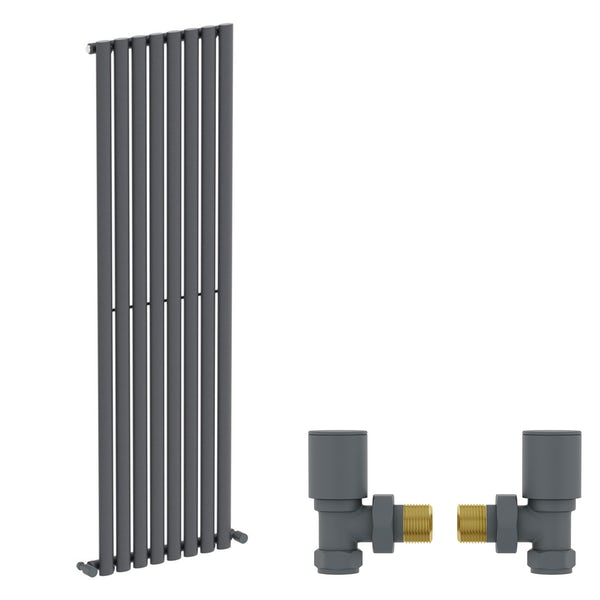 Mode Tate anthracite grey single vertical radiator 1600 x 480 with angled valves