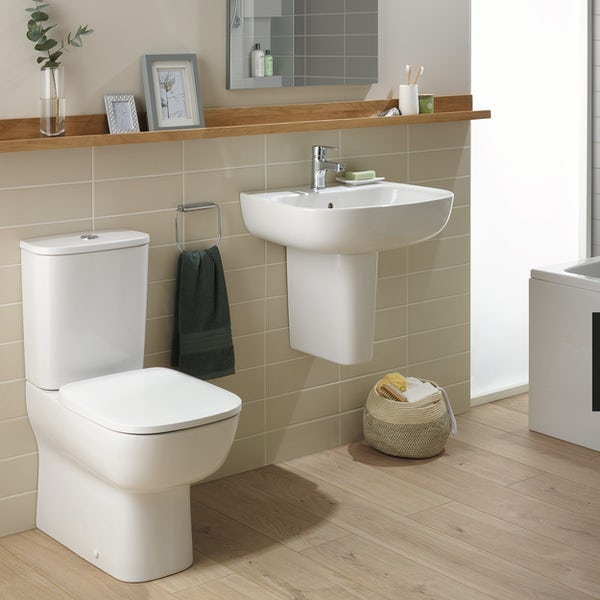 Ideal Standard Studio Echo cloakroom suite with close coupled toilet and semi pedestal basin 500mm