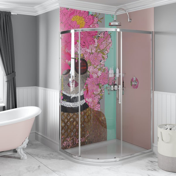 Louise Dear Kiss Kiss Bam Bam Light Pink acrylic shower wall panel pack with left handed offset quadrant enclosure