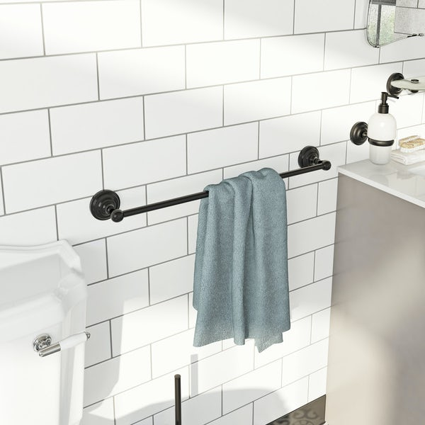 The Bath Co. 1805 black single towel rail