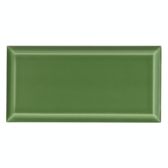 Deep Metro green bevelled gloss wall tile 100mm x 200mm