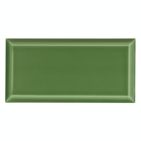 Deep Metro green bevelled gloss wall tile 100mm x 200mm