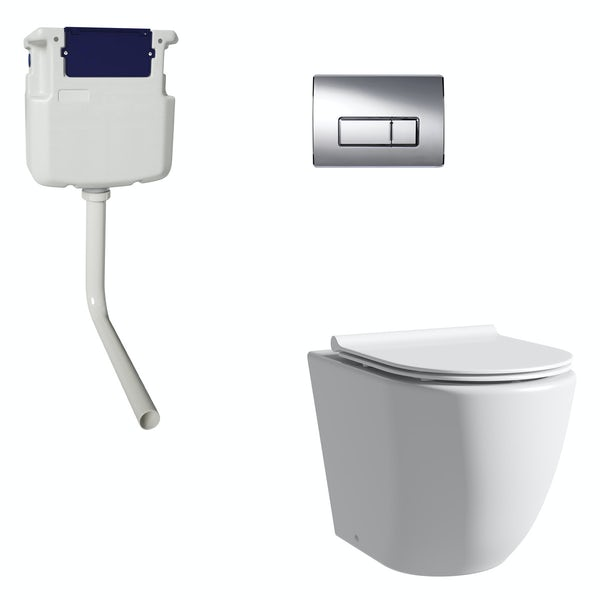 Mode Harrison rimless back to wall toilet with slim soft close seat, concealed cistern and push plate