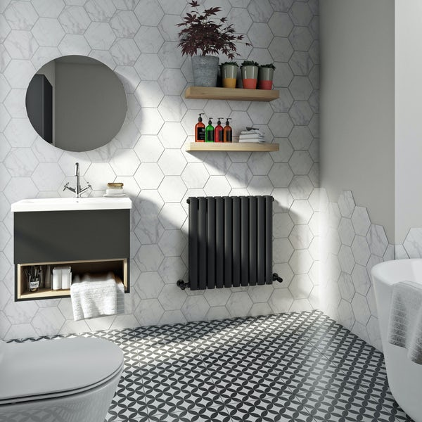 Mode Tate anthracite grey double horizontal radiator 600 x 600