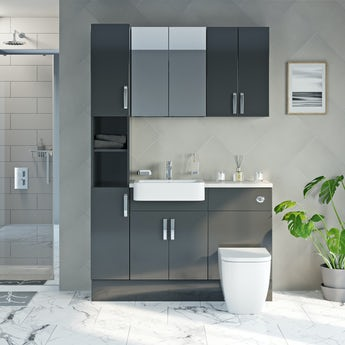 Mode Nouvel gloss grey tall fitted furniture & storage combination with beige worktop